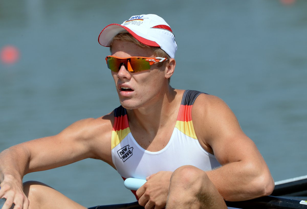 Jason Osborne from Germany set a new world's best time to make it through the men's lightweight single sculls heats ©World Rowing