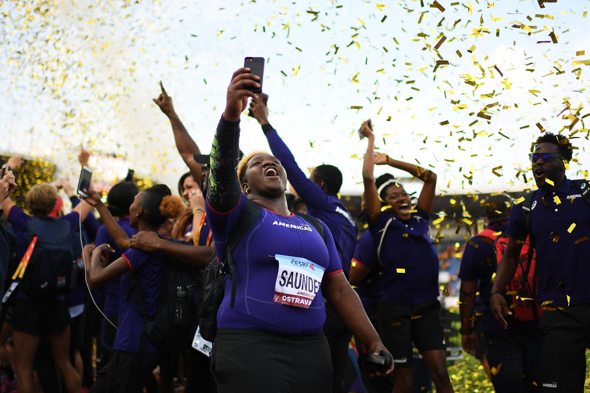 Team Americas celebrate winning the IAAF Continental Cup ©Getty Images