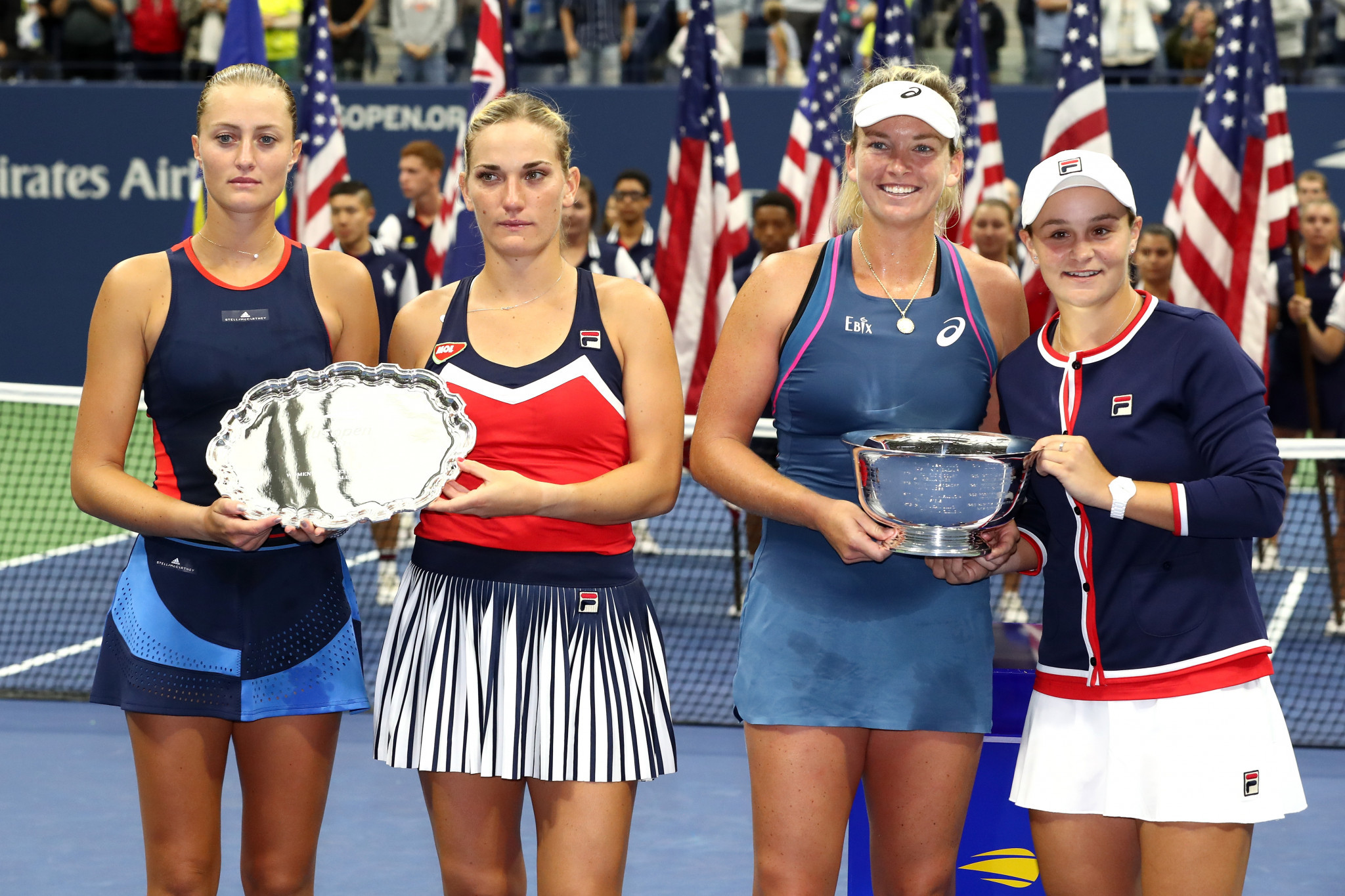 The women's double's champions claimed that they weren't allowed to give victory speeches as the men's final needed to get underway ©Getty Images