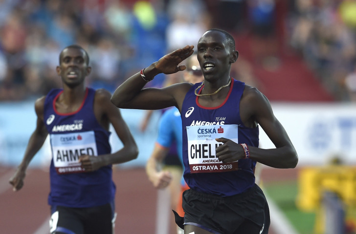 Paul Chelimo, of Team Americas and the US Army, salutes his victory in the gruelling 3,000m men's elimination race at the IAAF Continental Cup in Ostrava on Sunday ©Getty Images