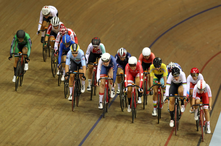 A general view during the women's omnium elimination race approaching a key checkpoint during the track cycling on day five of last month's European Championships in Glasgow ©Getty Images