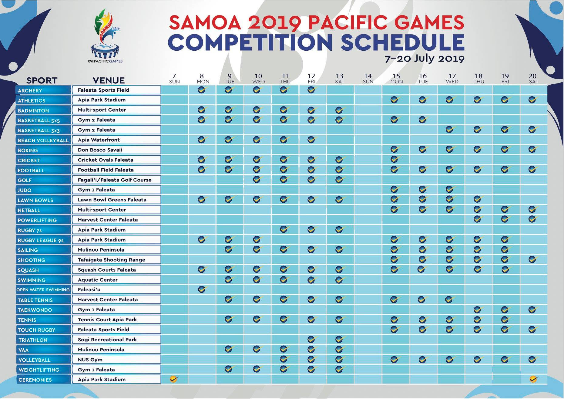 A competition schedule for the Games has been revealed ©Pacific Games Council