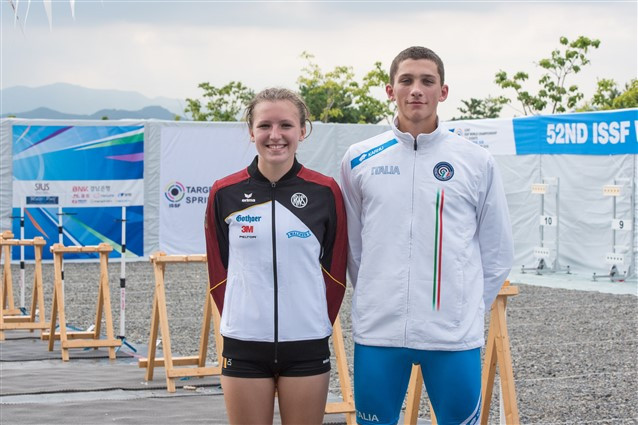 Junior world champions Giovanni Pezzi and Madien Guggenmos represented Italy and Germany in Changwon ©ISSF