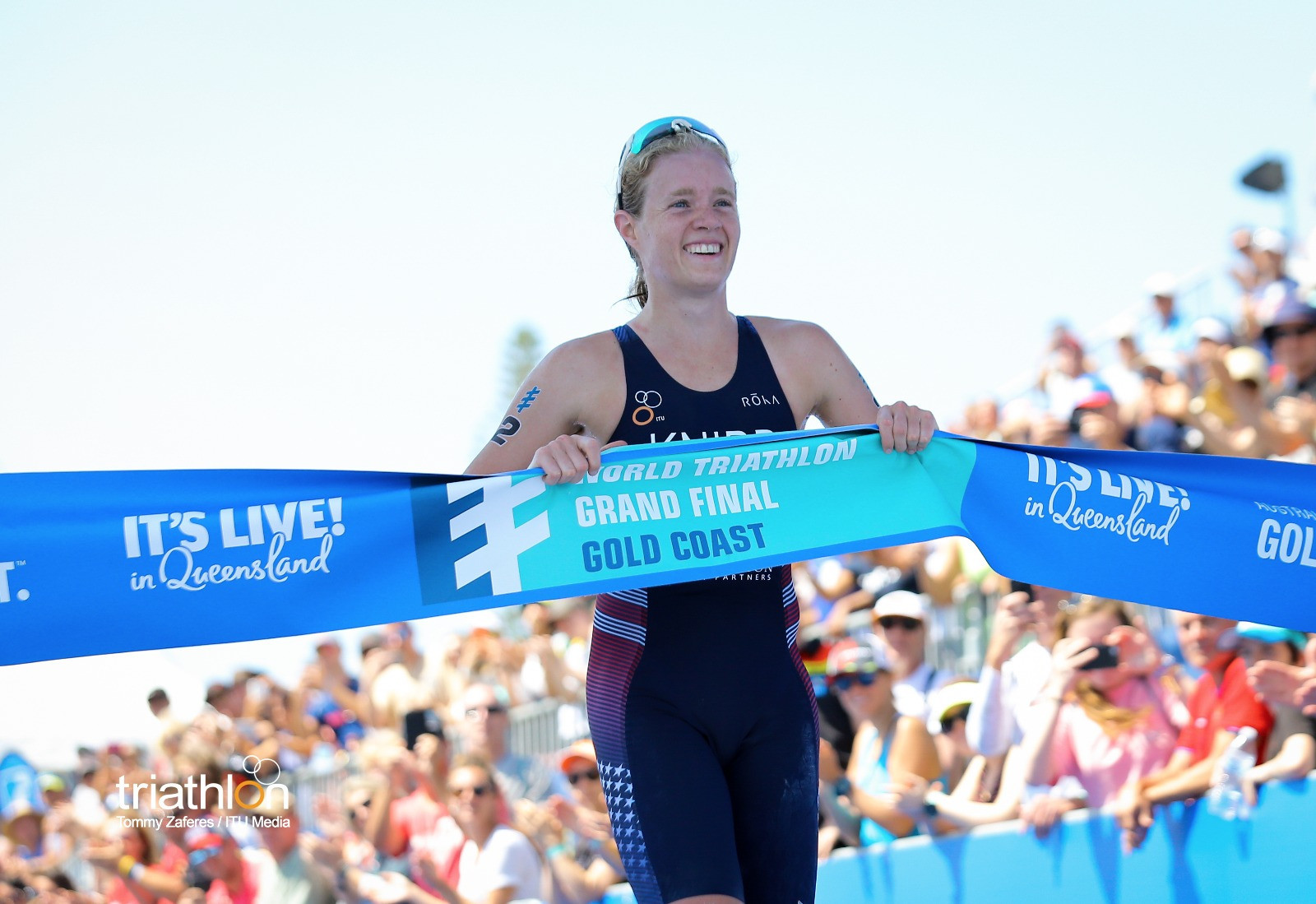 Taylor Knibb of the United States wins the ITU world under-23 women's title on the Gold Coast ©ITU