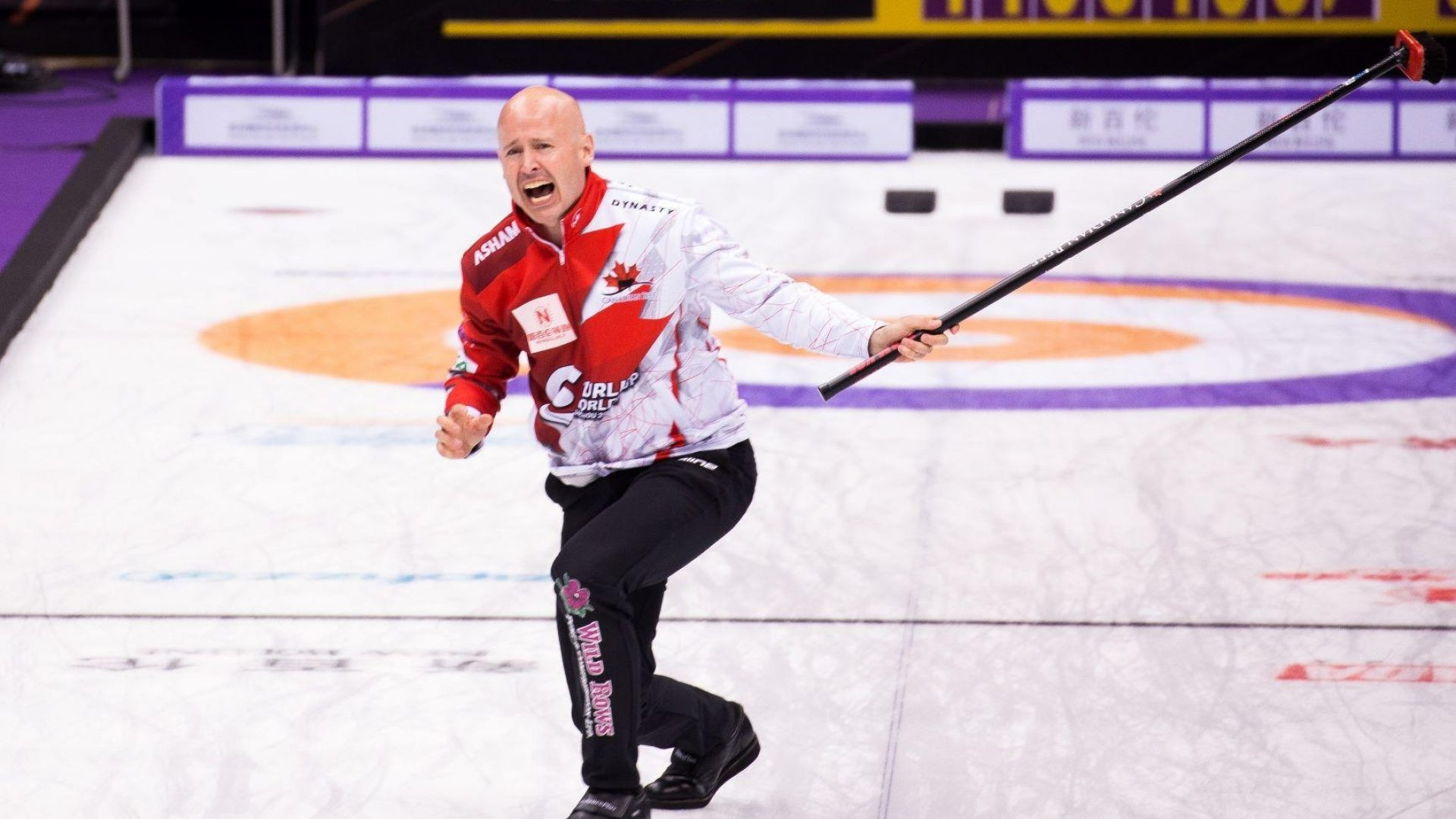 Kevin Koe starred for Canada as they preserved their unbeaten record ©Curling World Cup