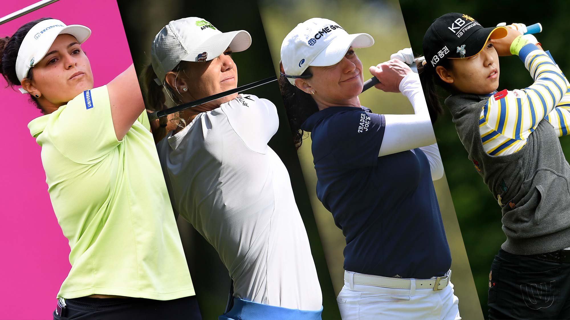 Four women jointly lead the LPGA Evian Golf Tournament at the halfway stage - from left, Maria Torres, Amy Olson, Mo Martin and Mi Hyang Lee ©LPGA