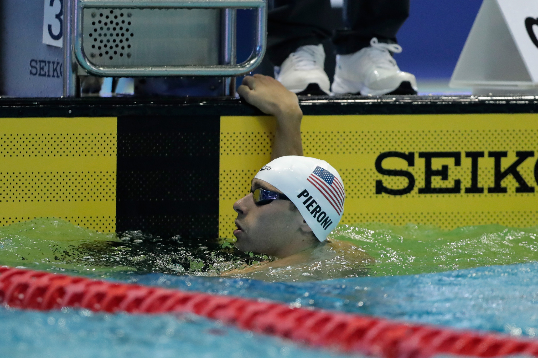 Blake Pieroni from the US set a new World Cup record in the men's 100m freestyle