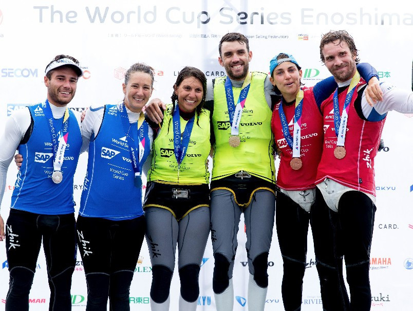 Australian duo claim Nacra 17 gold after controversial medal race at Sailing World Cup in Tokyo