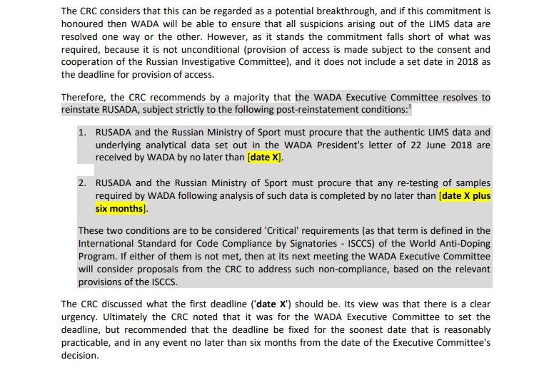 RUSADA could be declared non-compliant again if it does not adhere to the condition regarding the Moscow Laboratory within a certain timeframe ©WADA