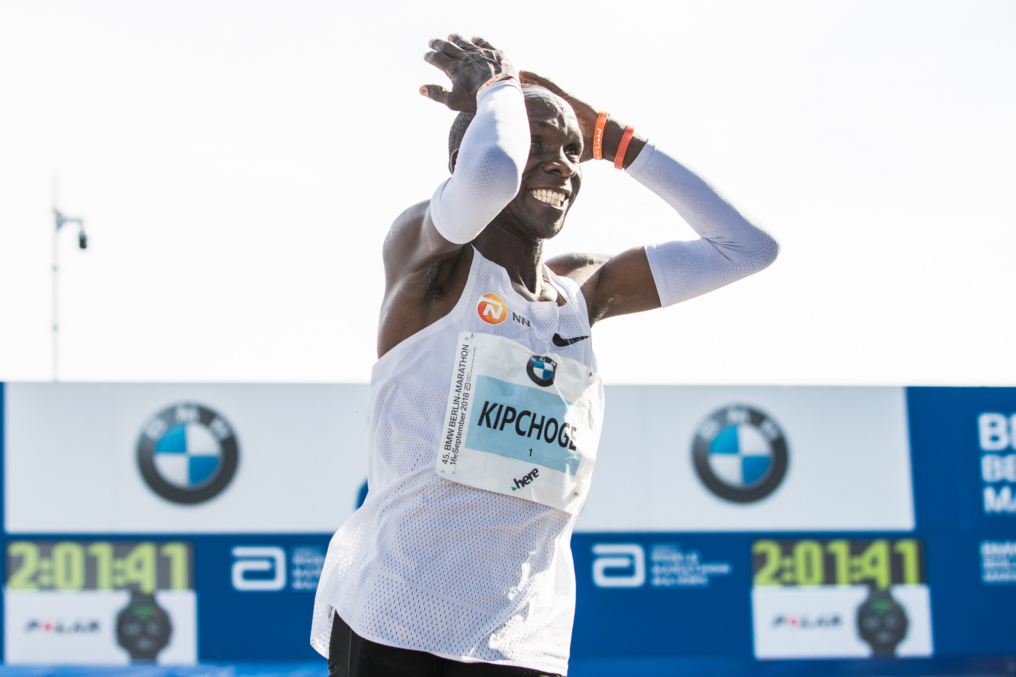 Kenya's Eliud Kipchoge celebrates after taking 1min 18sec off the world marathon record in Berlin today ©Getty Images