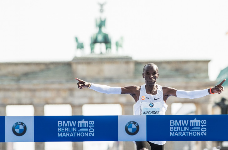 Kenya's Eliud Kipchoge wins the 2018 Berlin Marathon today in a world record of 2 hours 1min 39sec ©Getty Images