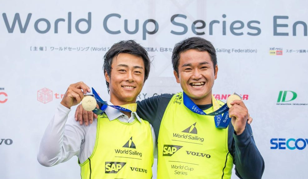 Japan's Keiju Okada and Jumpei Hokazono were among the athletes to claim gold as weather prevented medal races from taking place in all but two fleets ©World Sailing