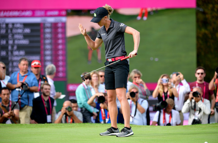 Amy Olson reacts at the final hole of the Evian Championship as a double-bogey takes her from being a shot in the lead to joint second ©Getty Images