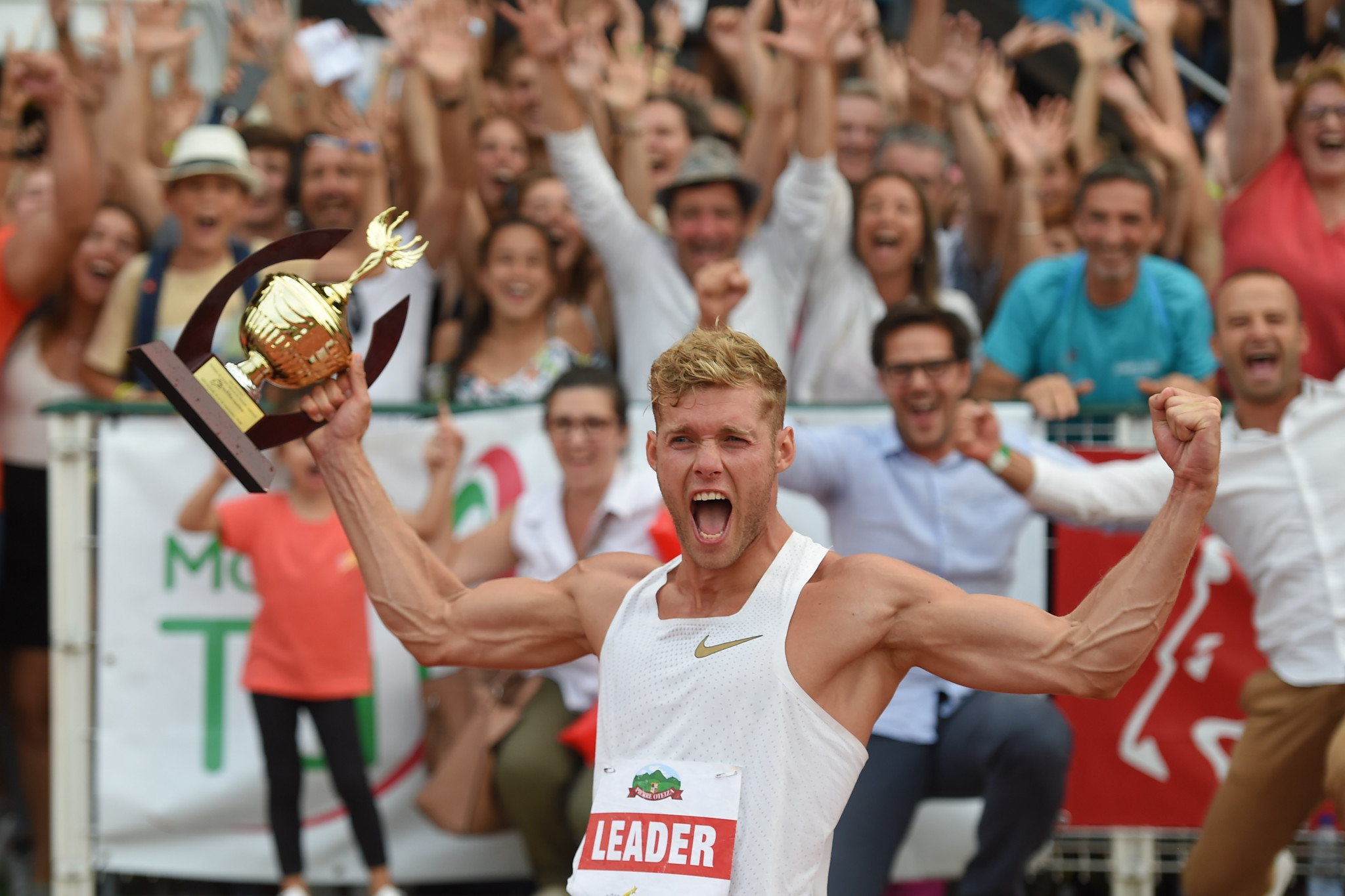 France's world decathlon champion Kevin Mayer celebrates a huge world record of 9,126 points at his home meeting in Talence ©Getty Images