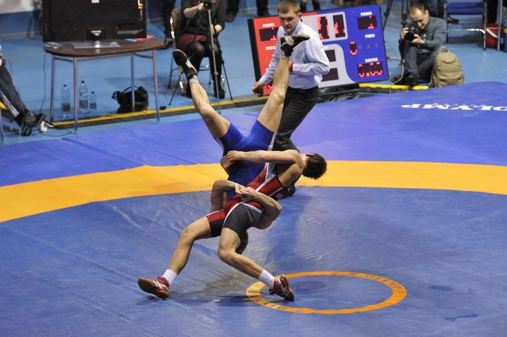 Now underway at the Palace of Sports is a Greco-Roman wrestling test event ©BWF