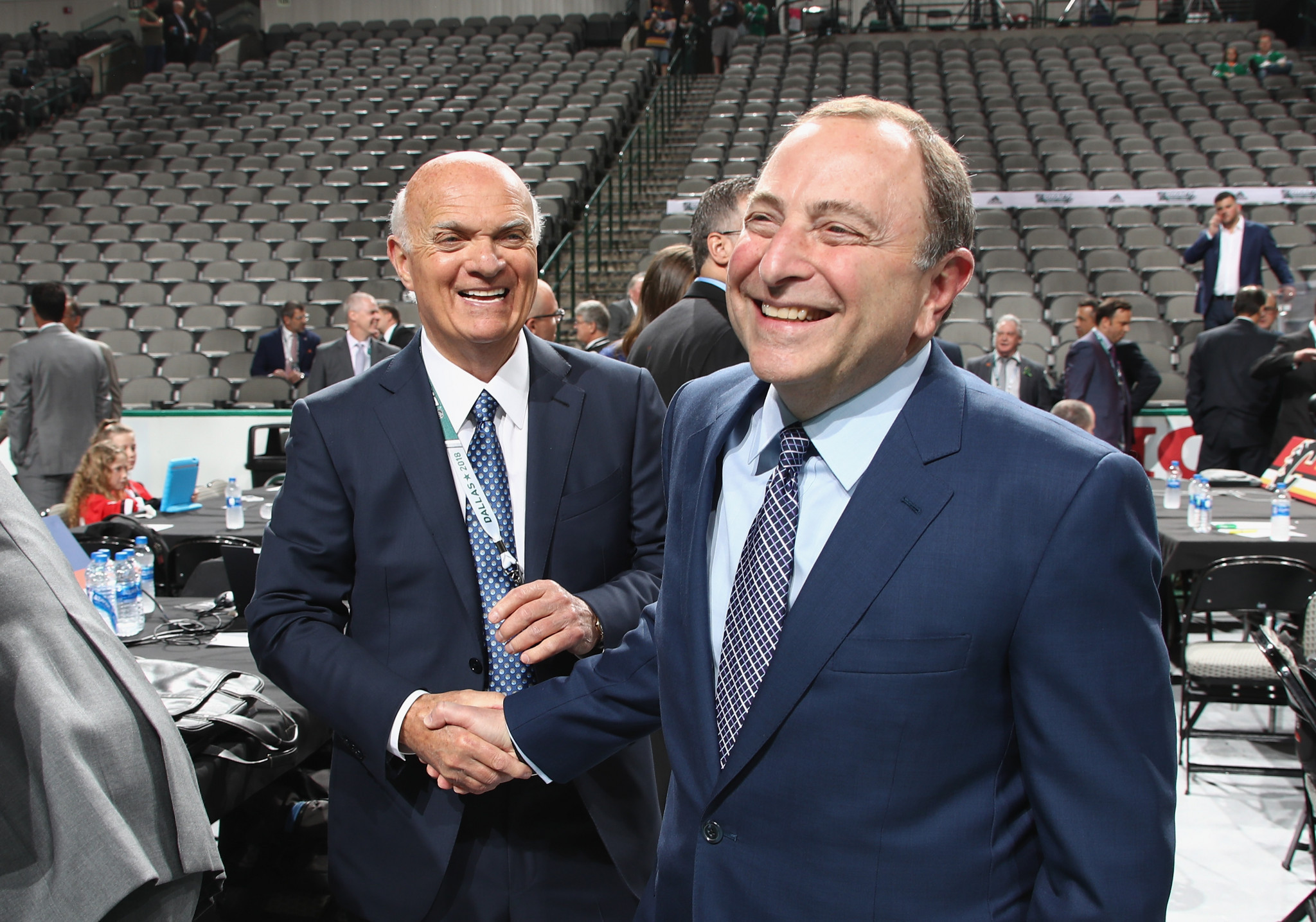 NHL Commissioner Gary Bettman, right, has claimed ice hockey's growth in China is not be dependent on the League participating at the 2022 Winter Olympic Games in Beijing ©Getty Images