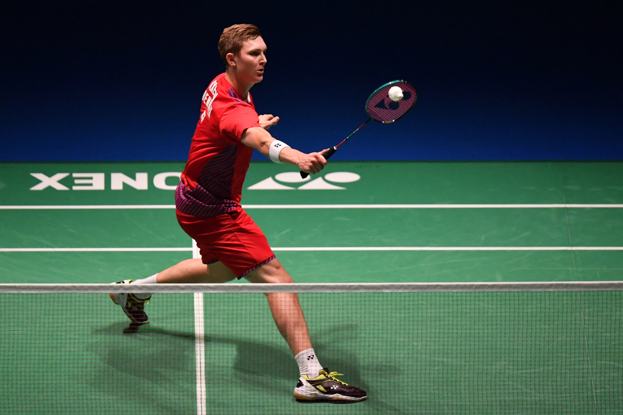 Denmark's top seed Viktor Axelsen negotiated his first round clash at the Badminton World Federation China Open ©Getty Images