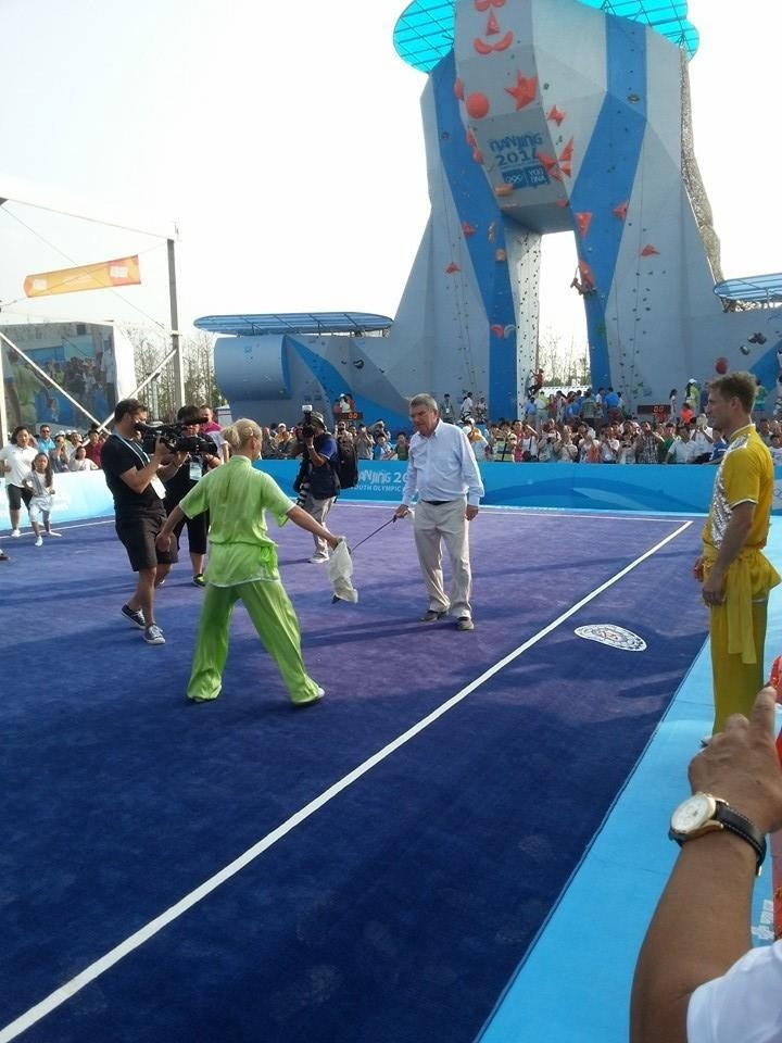Climbing (in the background) was the surprise recommendation for Tokyo 2020 while, despite appearing alongside it at the Nanjing 2014 Sports Lab, wushu (in foreground) missed out ©ITG