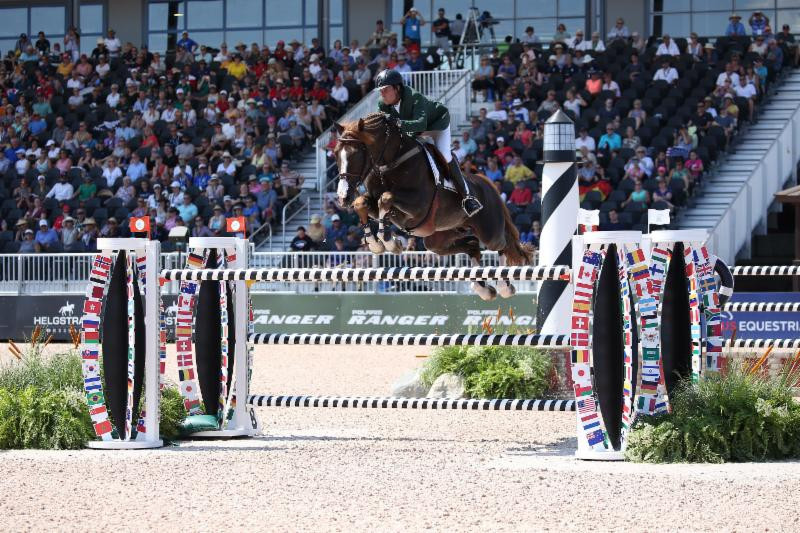 Brazil's Pedro Veniss, riding Quabri de l'Isle, was long-time leader in the opening competition of the jumping events at the World Equestrian Games, but was beaten by Switzerland's London 2012 champion Steve Guerdat ©FEI