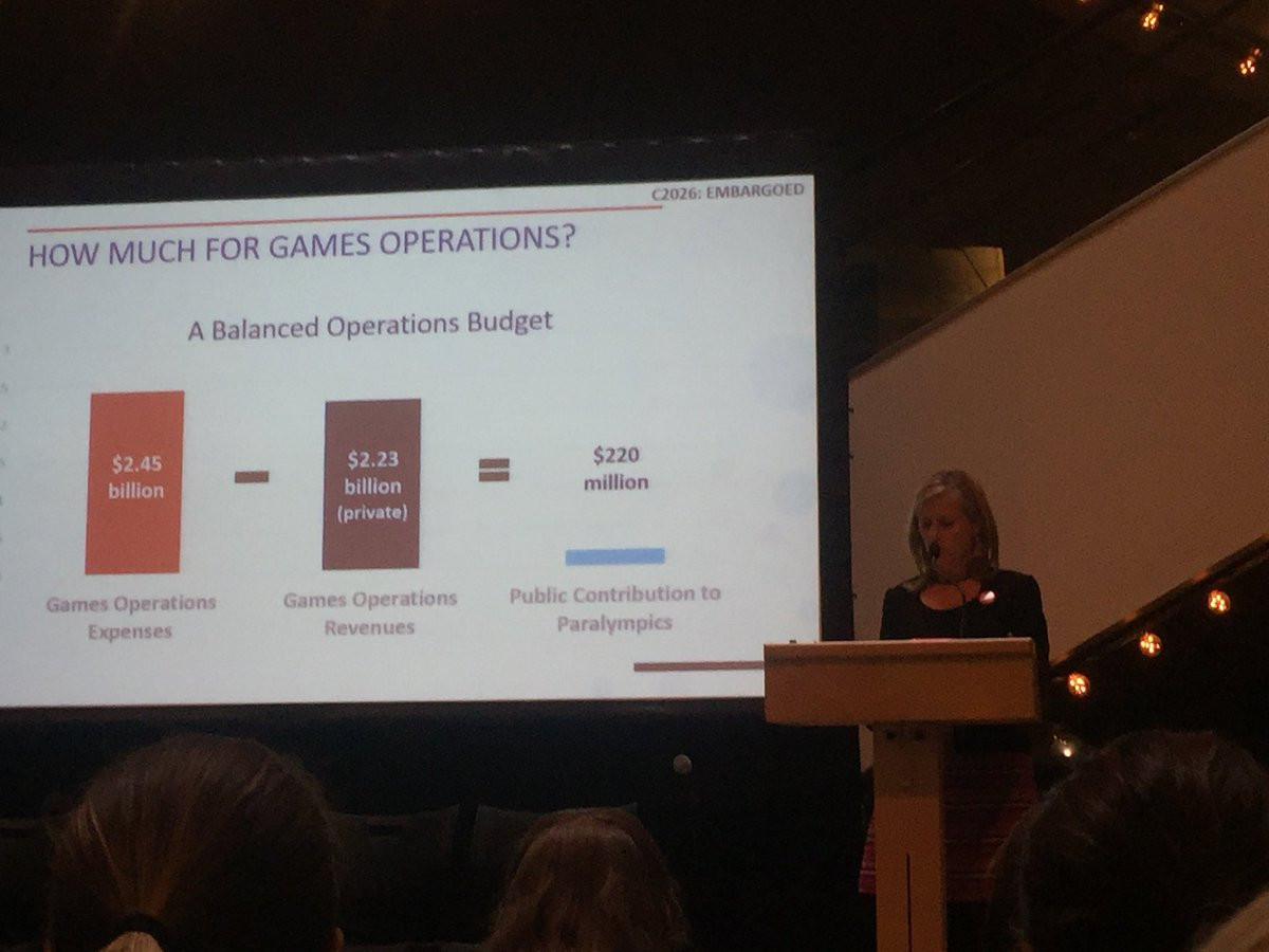 Calgary 2026 chief executive Mary Moran did a presentation on the Canadian city's proposed budget if they are awarded the Olympic and Paralympic Games ©Twitter