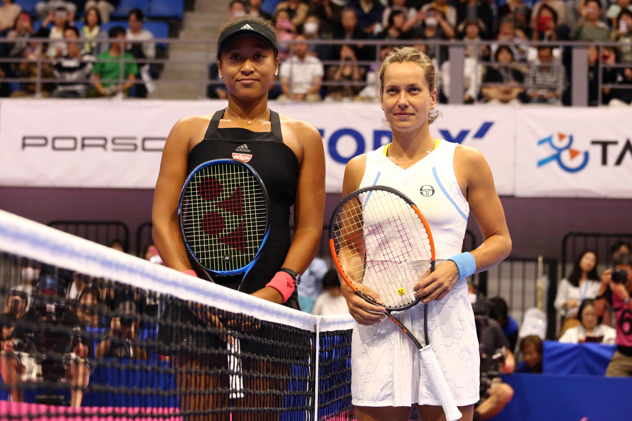 Japan's Naomi Osaka and Czech Barbora Strýcová before their quarter-final at the Pan Pacific Open in Tokyo, which the newly-crownded US Open champion won for her ninth victory in a row ©Getty Images