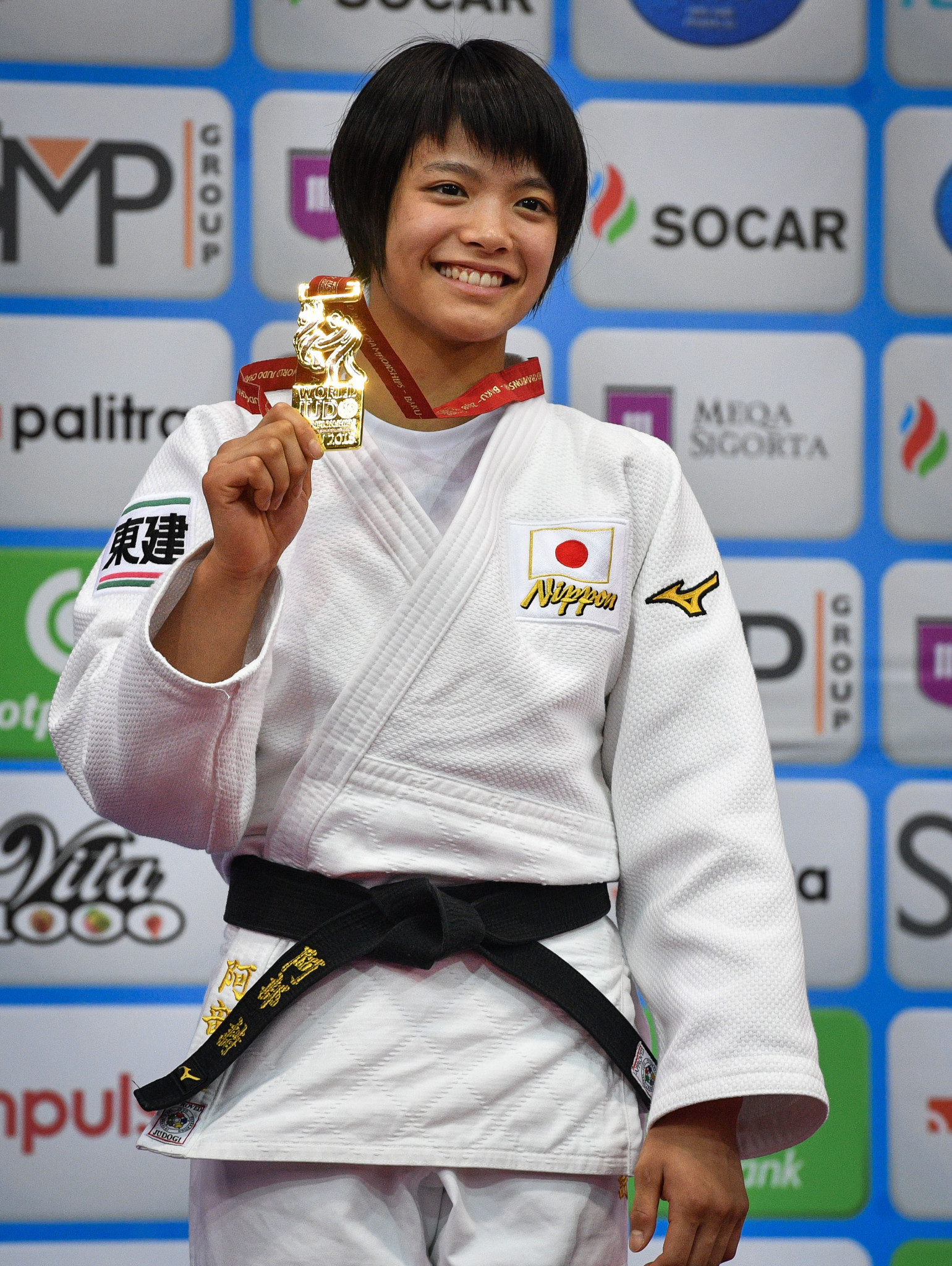Uta Abe takes gold in the women's under-52kg category at her first World Championships ©Getty Images