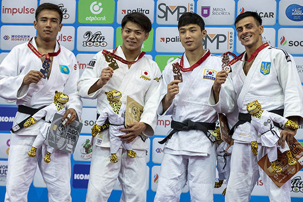 All but the silver medallist have been former champions as South Korea's Baul An took the final bronze ©IJF