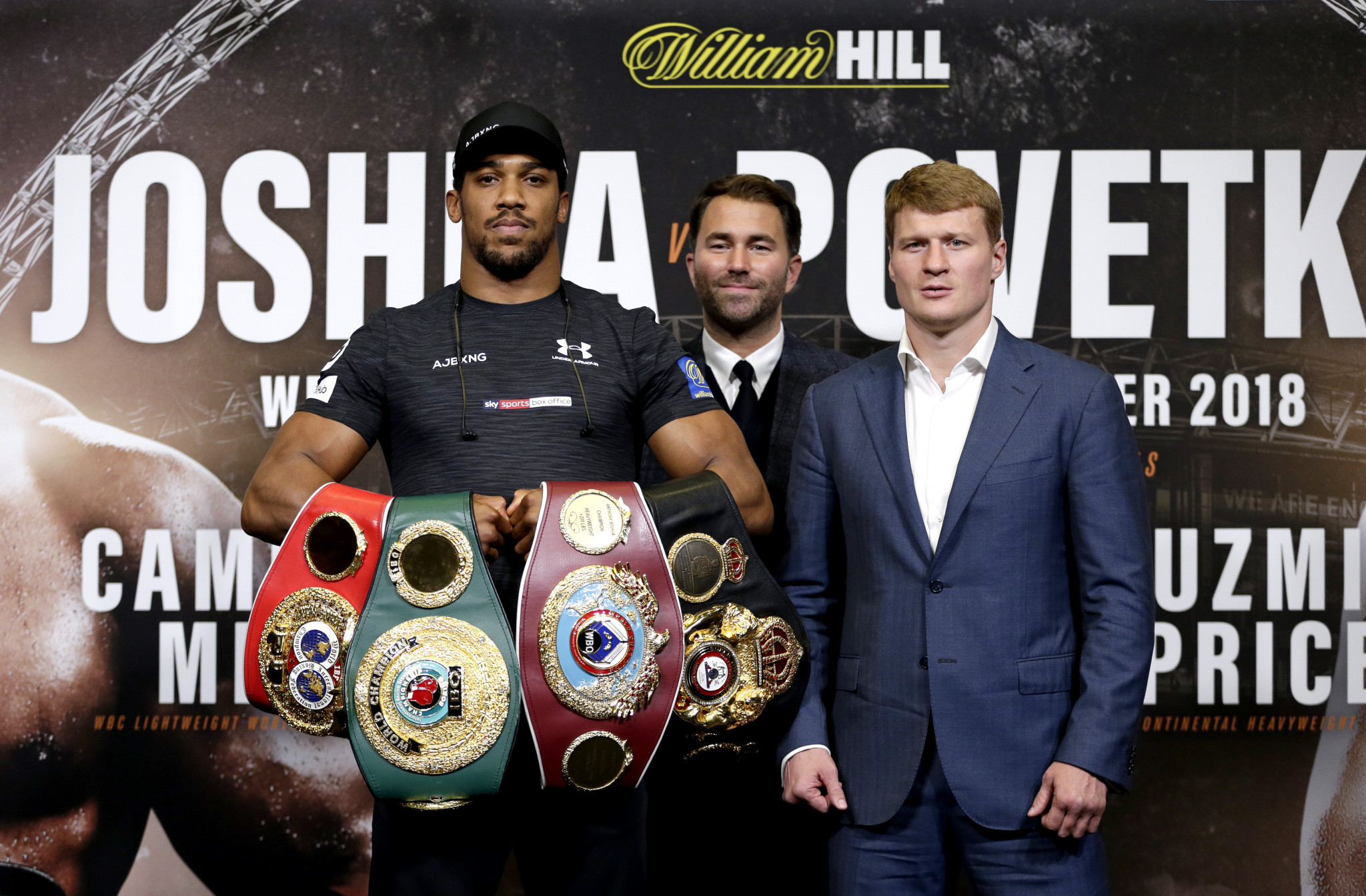 Britain's Anthony Joshua, right, is expected to earn £20 million for his world heavyweight defence against Russia's Alexander Povetkin at Wembley Stadium in London tomorrow night ©Getty Images