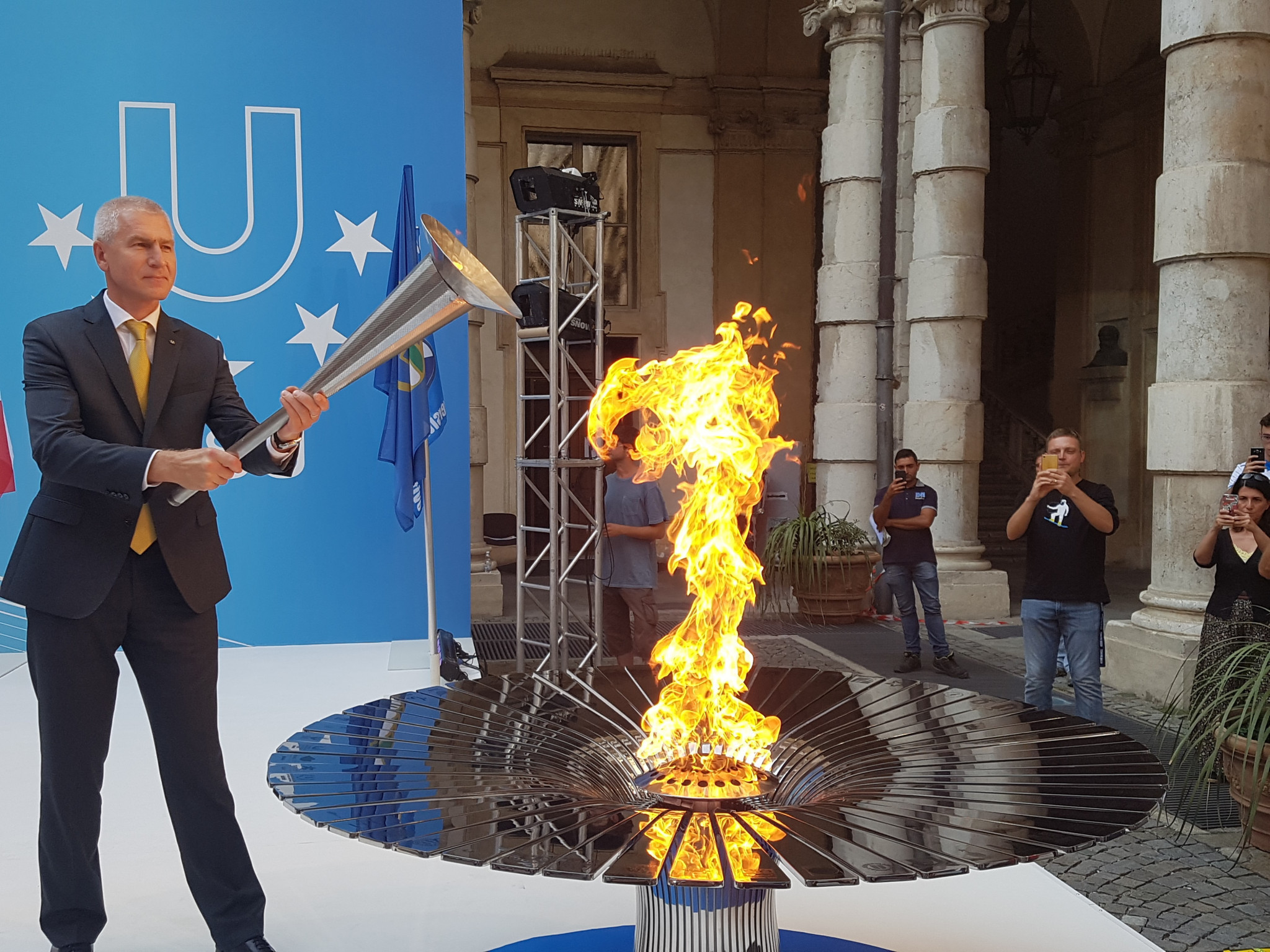 The Torch for Krasnoyarsk 2019 was lit at a special ceremony in Turin on Thursday ©FISU
