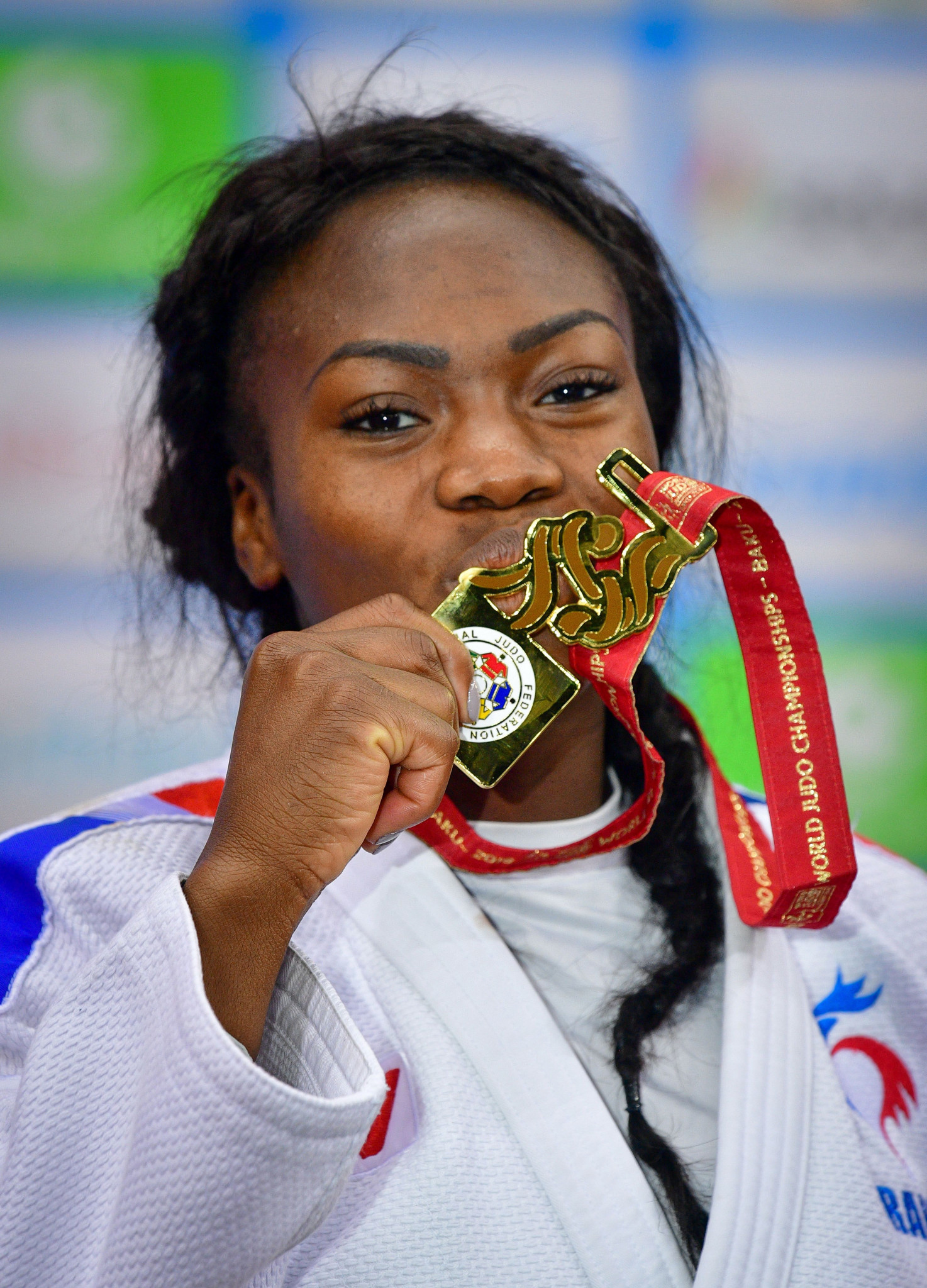 Clarisse Agbegnenou of France celebrates her third gold medal at the World Championships ©Getty Images