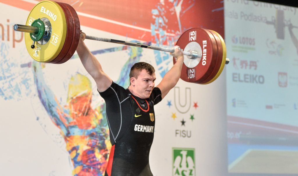 Germany's Bjorn Gunther was one of four winners on the final day of the FISU World University Weightlifting Championships in Biała Podlaska in Poland ©FISU