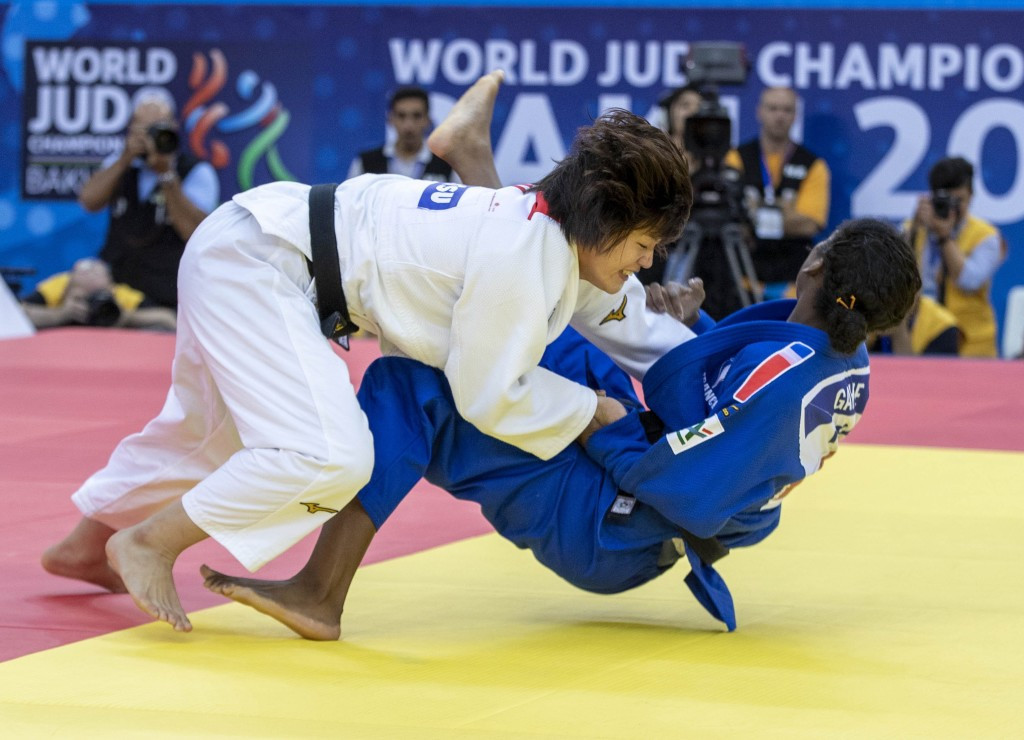 Japan's Chizuru Arai successfully retained her women's under-70 kilograms title on day five of the 2018 World Judo Championships in Baku, beating France's Marie Eve Gahie in the final ©IJF