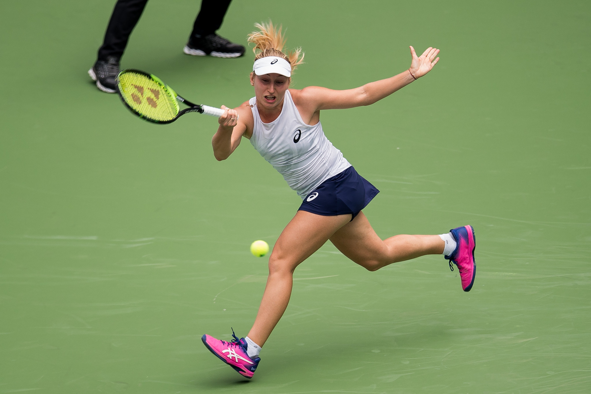 Australian Daria Gavrilova stunned 2017 French Open champion and 10th seed Jelena Ostapenko of Latvia to reach the second round ©Getty Images