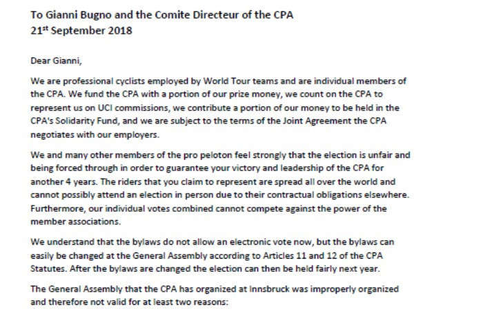 The letter to CPA President Gianni Bugno claims this week's election is not valid due to breaches of statutes ©CPA
