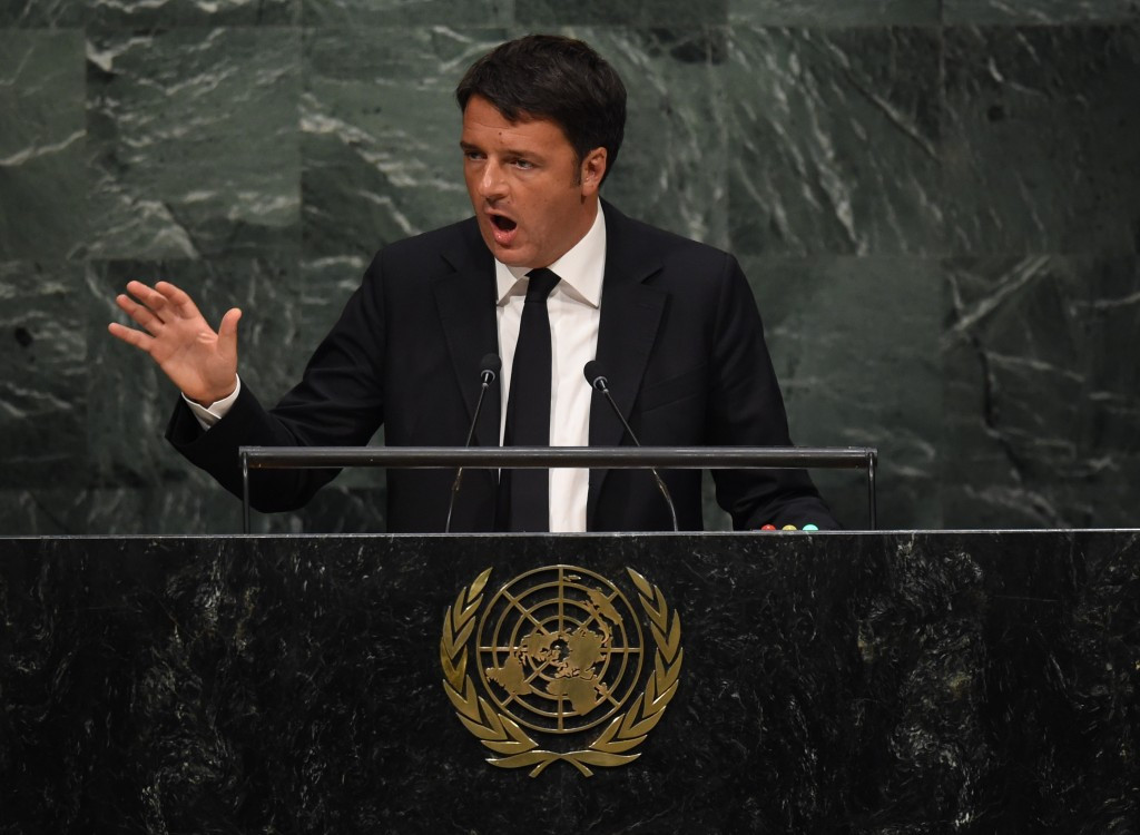 Itialian Prime Minister Matteo Renzi, pictured speaking during the UN Summit, discussed the Olympic bid when meeting Thomas Bach in New York ©AFP/Getty Images