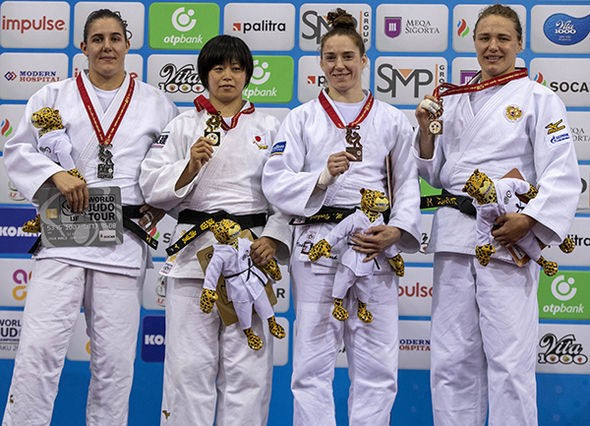 The podium for the women's under-78kg category ©IJF