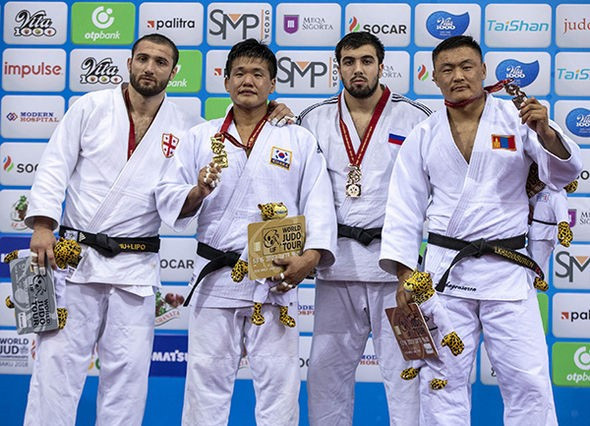 The four medallists in the men's under-100kg event were from four different countries ©IJF
