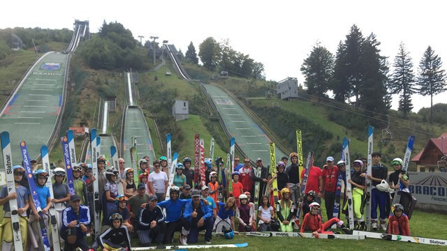 Participants of the FIS Summer Development camp for ski jumping and Nordic combined ©FIS