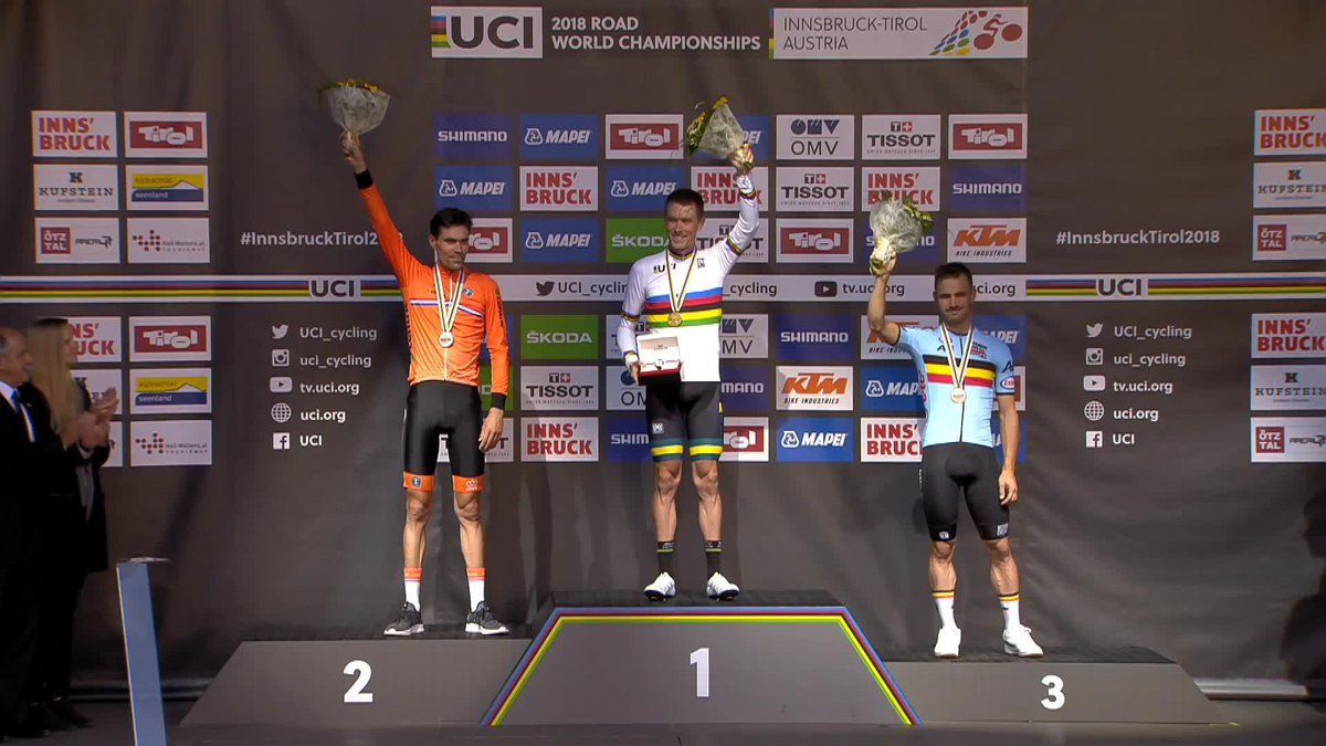 Dennis surges to elite men's time trial title at UCI Road Cycling World Championships