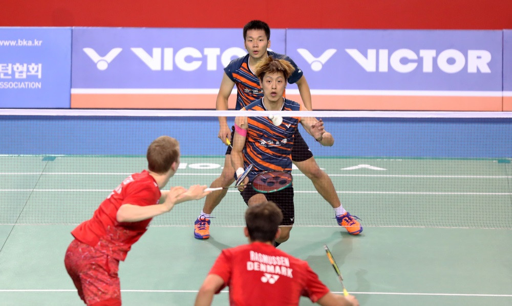 Today's action at the Korea Open saw an upset as China Open champions Kim Astrup and Anders Skaarup Rasmussen of Denmark lost to Chinese Taipei's Lee Jhe-Huei and Lee Yang ©BWF