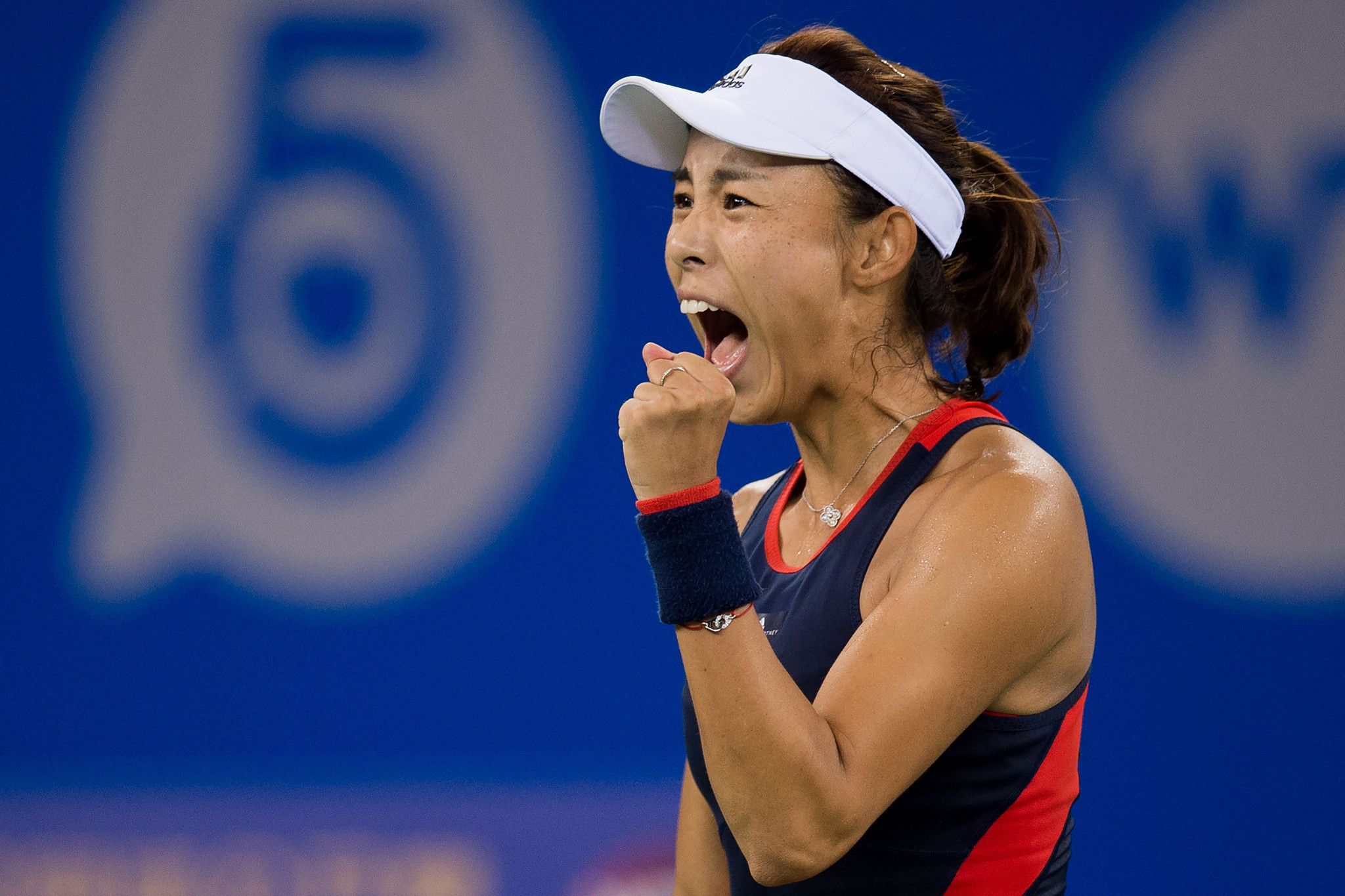 Wang Qiang of China celebrates beating Australian Daria Gavrilova at the Wuhan Open ©Getty Images