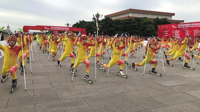 Roller skiers start Beijing Marathon in bid to promote Chinese winter sport