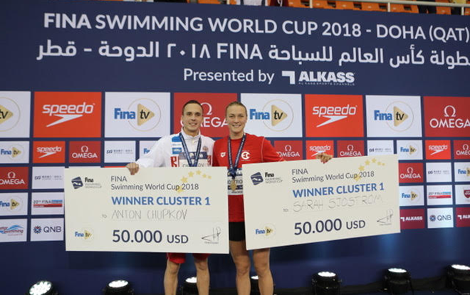 Anton Chupkov of Russia and Sweden's Sarah Sjostrom hold their cheques for winning the first cluster of this year's FINA World Cup series ©FINA