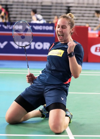 Scotland's Kirsty Gilmour celebrates reaching the quarter-finals of the BWF Korea Open in Seoul ©BWF