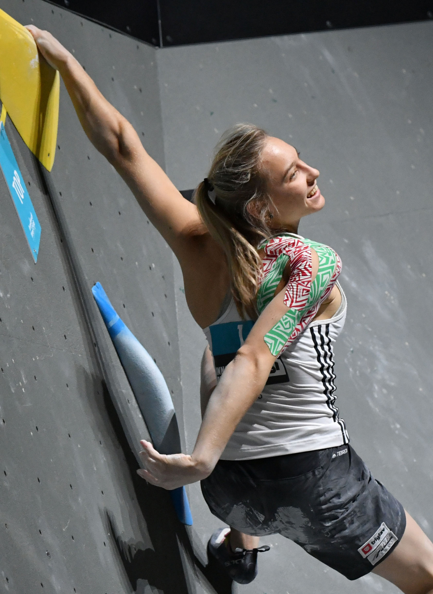 Slovenia's multiple world champion Janja Garnbret will continue the defence of her Lead World Cup climbing title on the home ground of Kranj in Slovenia tomorrow ©Getty Images