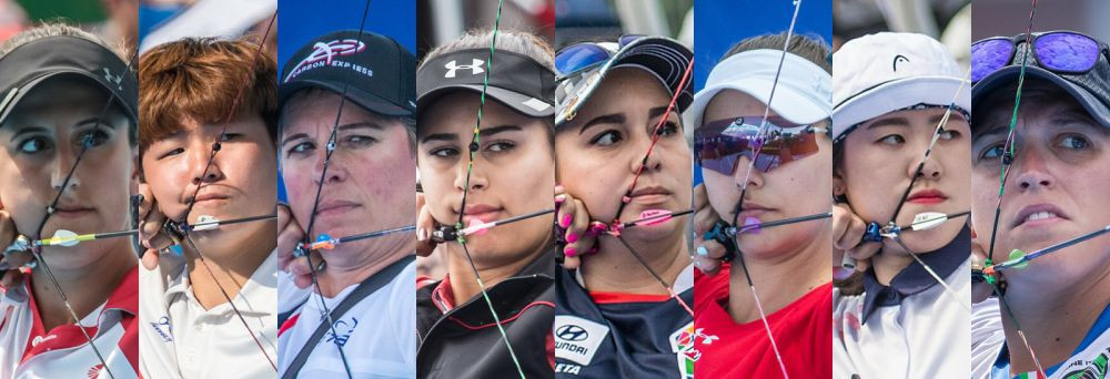 The field for the women's compound event at the Archery World Cup final that starts tomorrow in Samsun, where home archer Yesim Bostan, the world number one, will challenge perennial winner Sara Lopez ©World Archery