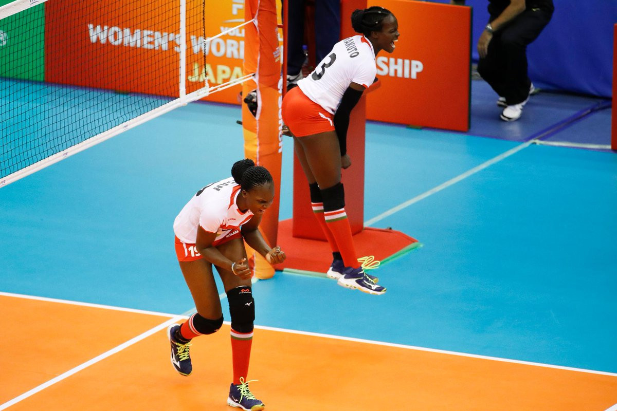 Kenya celebrate winning their opening match of the FIVB Women's World Volleyball Championships in Japan ©FIVB