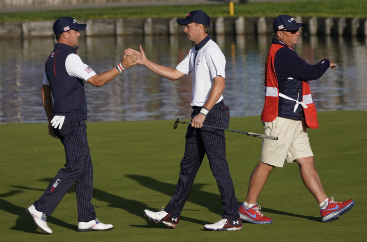 Justin Thomas, left, and Jordan Spieth halted the European momentum with two victories on the second day of the Ryder Cup ©Getty Images