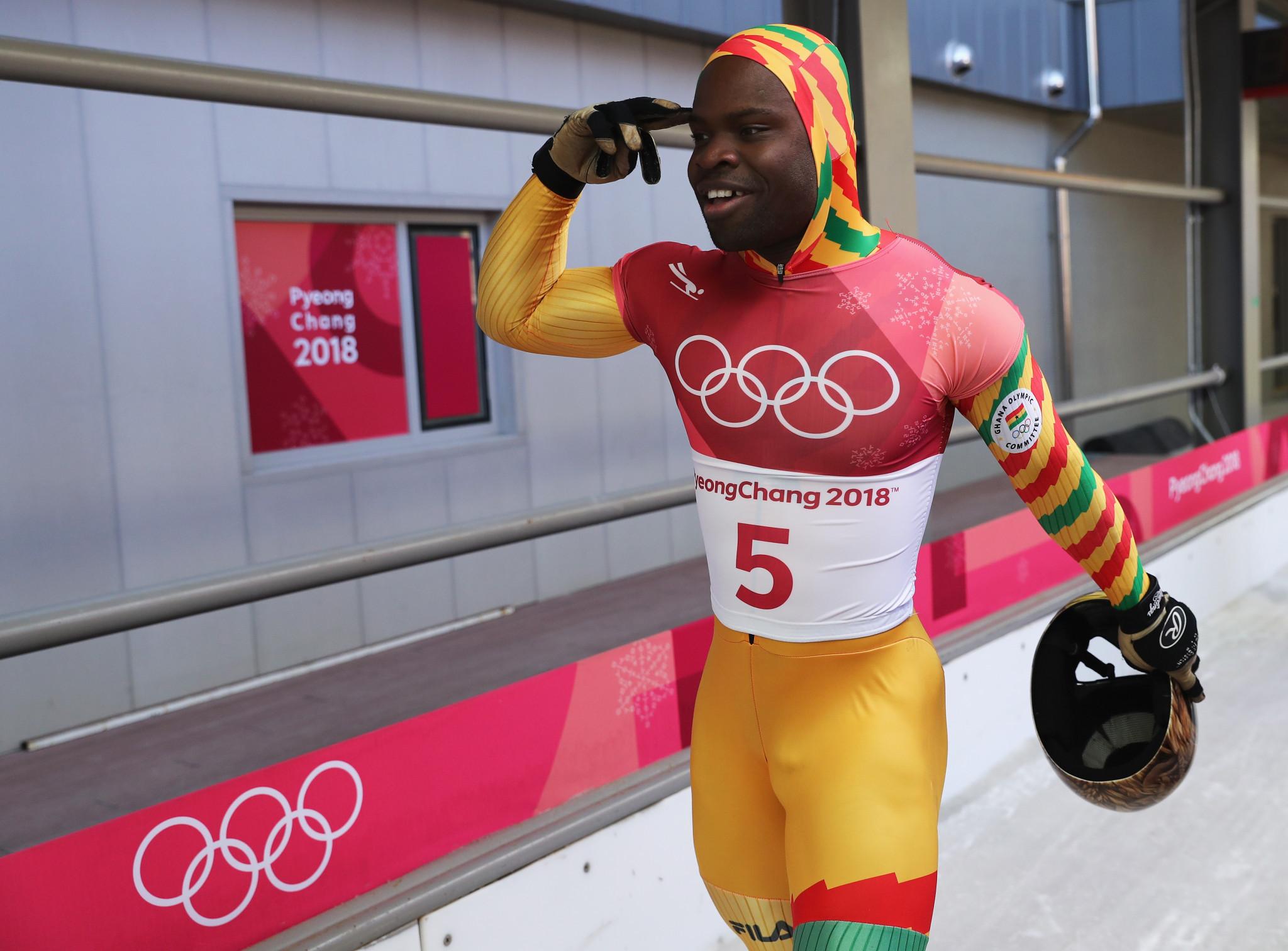 Akwasi Frimpong represented Ghana in skeleton at Pyeongchang 2018 ©Getty Images