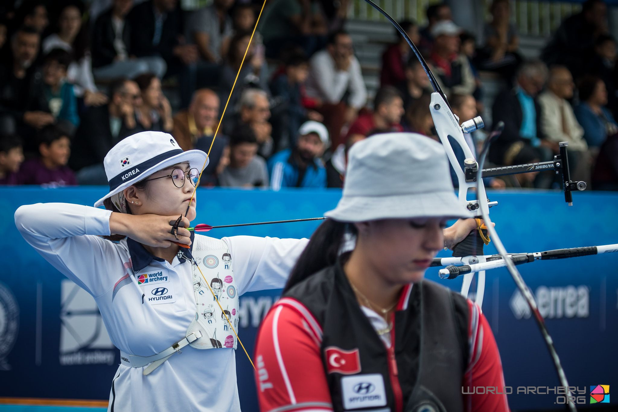 South Korea's 21-year-old Lee Eun Gyeong, left, in her debut international season, beat home archer Yasemin Anagoz in the women's recurve final at the Archery World Cup Final in Samsun, Turkey ©World Archery